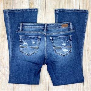 BKE Buckle Stella Flare Leg Low Rise Jeans Stretch